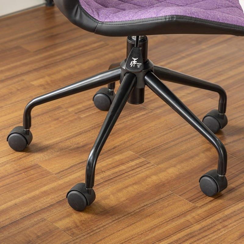 デスクチェア JUJU BK(ブラック):かっこいいいマット塗装の脚部