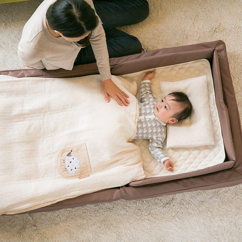 ファルスカ(farska)コンパクトベッドフィットL(9点セット)オーガニック モカ:お寝んねスペースとして、