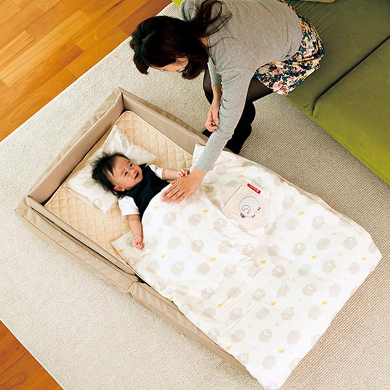 ファルスカ(farska)コンパクトベッドフィットL(9点セット)ベージュ:お寝んねスペースとして、