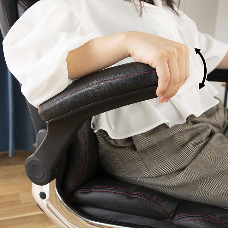 ゆったり座れるマネージャーチェア ブラウン BMC−BR ブラウン:肘部分も上下昇降機能