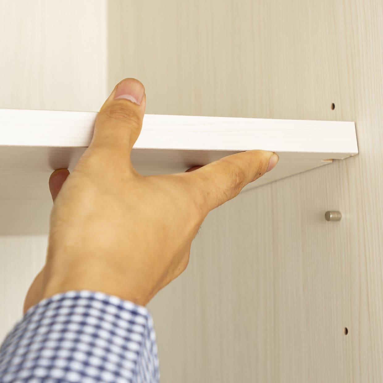 フリーボード マテリア�U 60 ホワイト木目(板戸):棚板は高さ調節可能