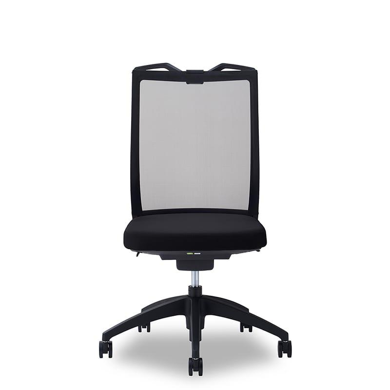 デスクチェア Air01 ヘッド無/ハンガー有/背BK/肘無/座BK/ベース樹脂:デスクチェア Air01