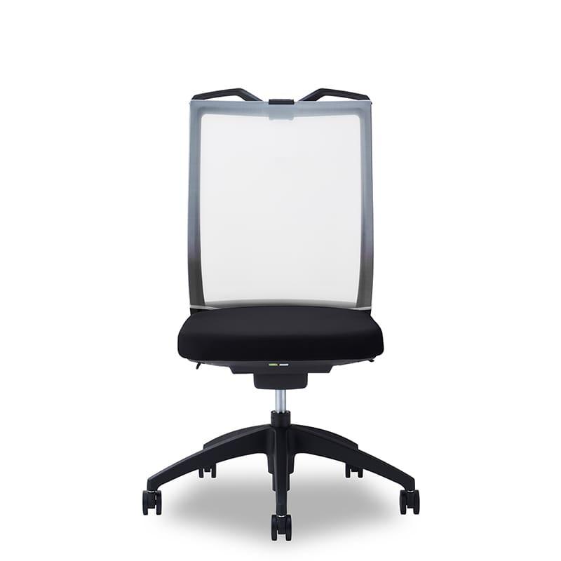 デスクチェア Air01 ヘッド無/ハンガー有/背WH/肘無/座BK/ベース樹脂:デスクチェア Air01