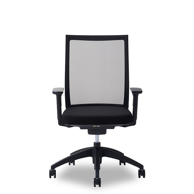 デスクチェア Air01 ヘッド無/ハンガー無/背BK/肘可動/座BK/ベース樹脂:デスクチェア Air01