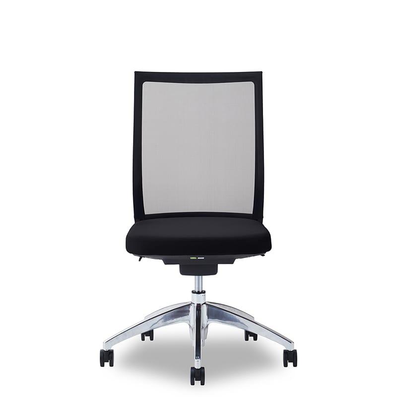 デスクチェア Air01 ヘッド無/ハンガー無/背BK/肘無/座BK/ベースアルミ:デスクチェア Air01