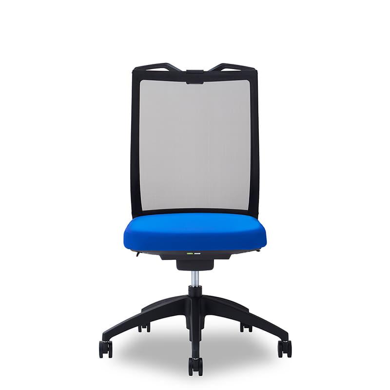デスクチェア Air01 ヘッド無/ハンガー有/背BK/肘無/座BL/ベース樹脂:デスクチェア Air01
