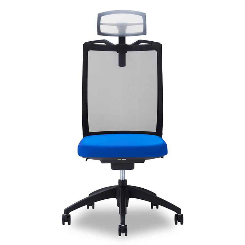 デスクチェア Air01 ヘッドWH/ハンガー有/背BK/肘無/座BL/ベース樹脂:デスクチェア Air01