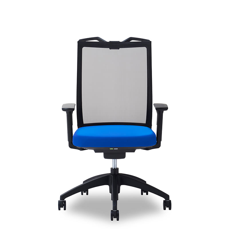 デスクチェア Air01 ヘッド無/ハンガー有/背BK/肘可動/座BL/ベース樹脂:デスクチェア Air01