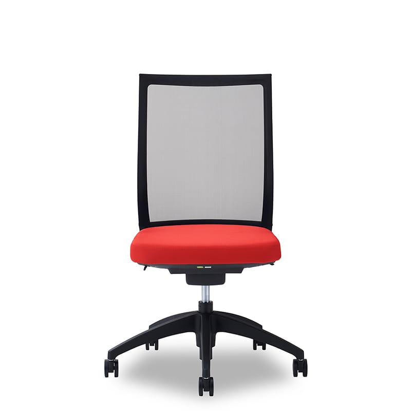 デスクチェア Air01 ヘッド無/ハンガー無/背BK/肘無/座RD/ベース樹脂:デスクチェア Air01