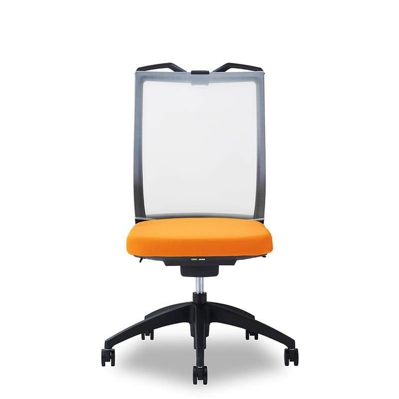 デスクチェア Air01 ヘッド無/ハンガー有/背WH/肘無/座OR/ベース樹脂:デスクチェア Air01
