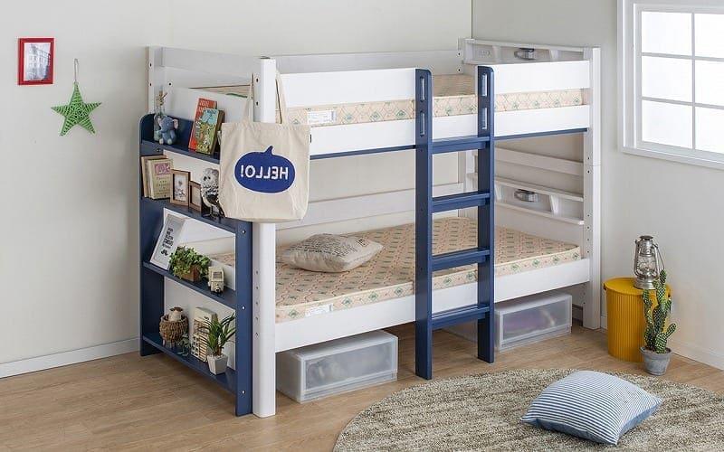 2段ベッド ストラ WH/GR(ホワイト/ウォームグレー):特許を取得した安心・安全設計の2段ベッド