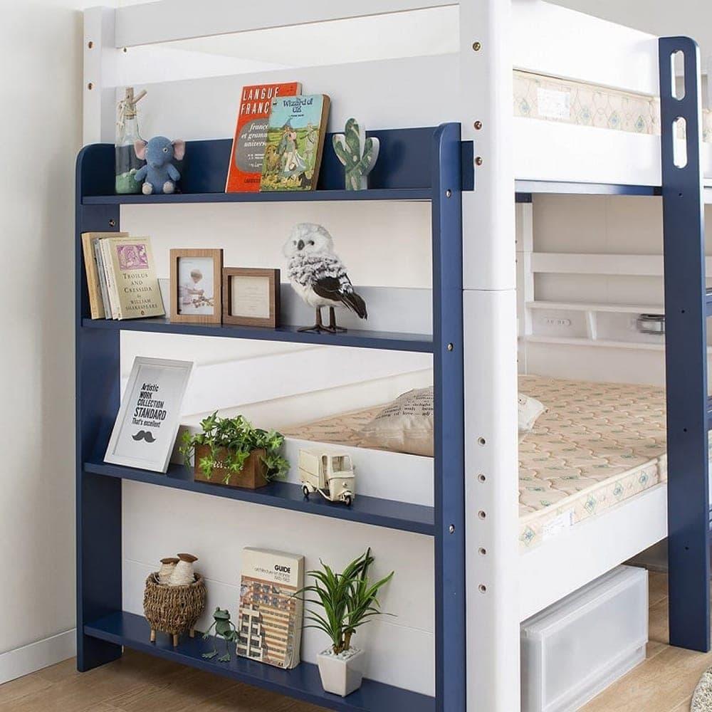 2段ベッド ストラ WH/GR(ホワイト/ウォームグレー):タンスに負けない収納量