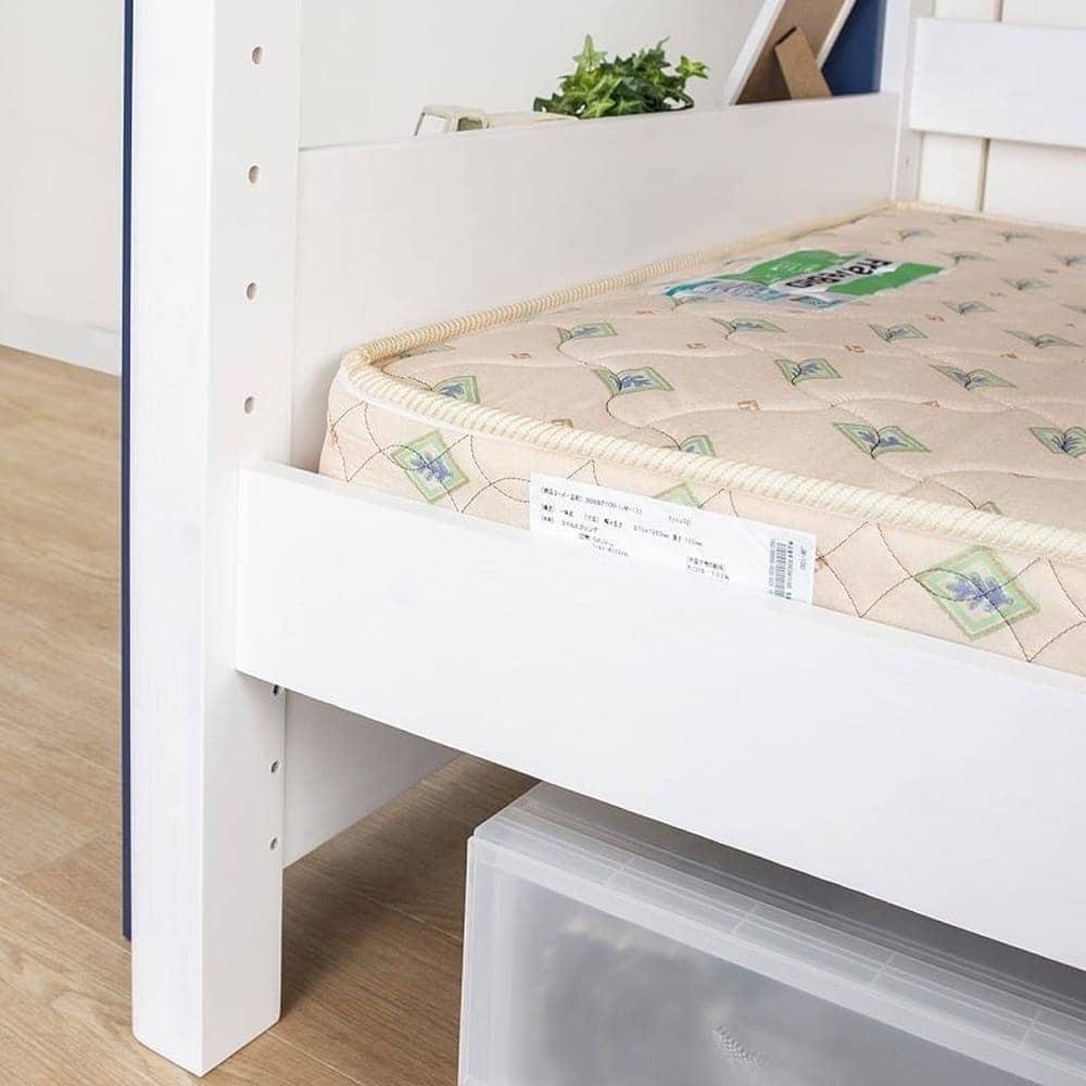 2段ベッド ストラ WH/GR(ホワイト/ウォームグレー):高さ調整可能な下段サイドフレーム