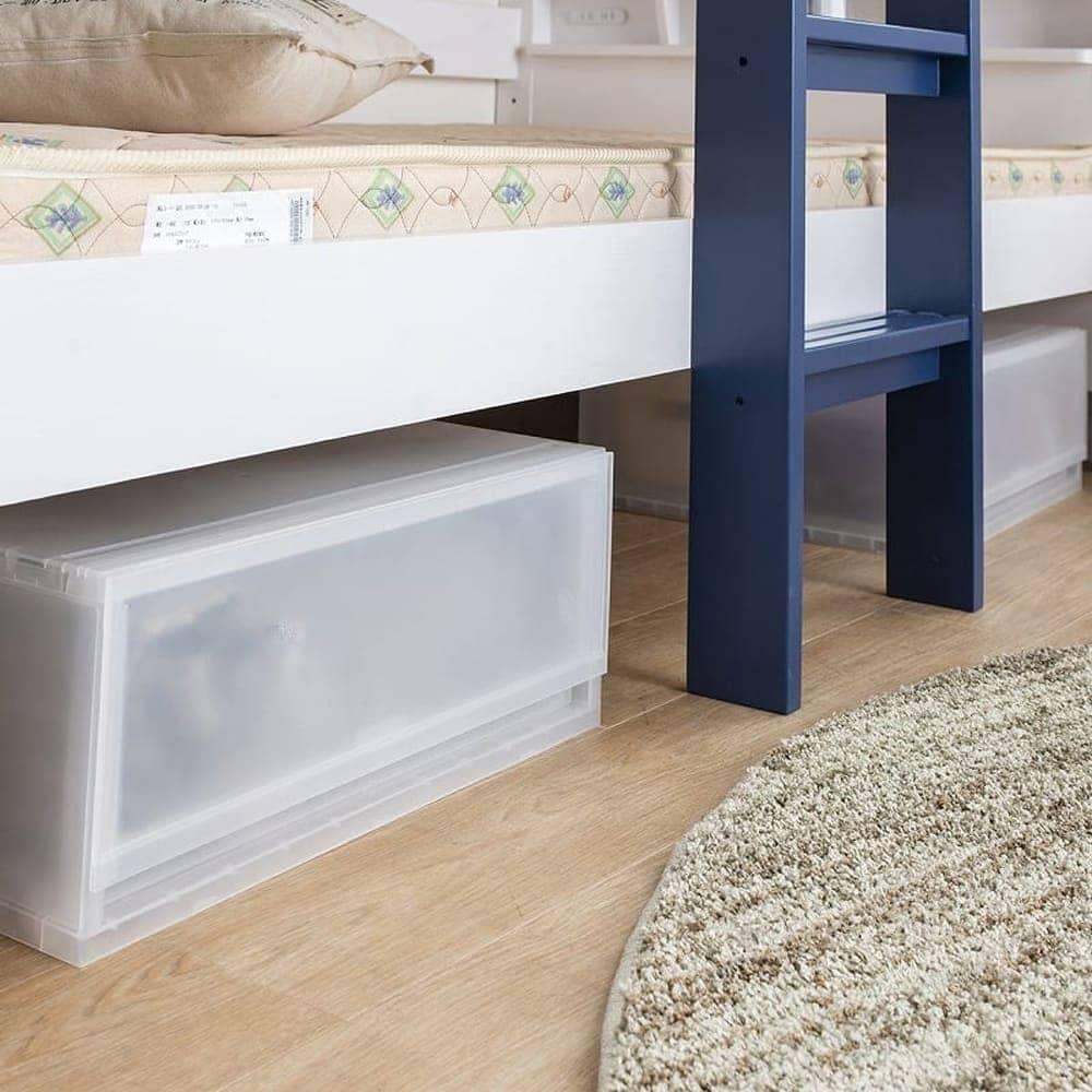 2段ベッド ストラ WH/GR(ホワイト/ウォームグレー):ベッド下のスペースも有効活用♪