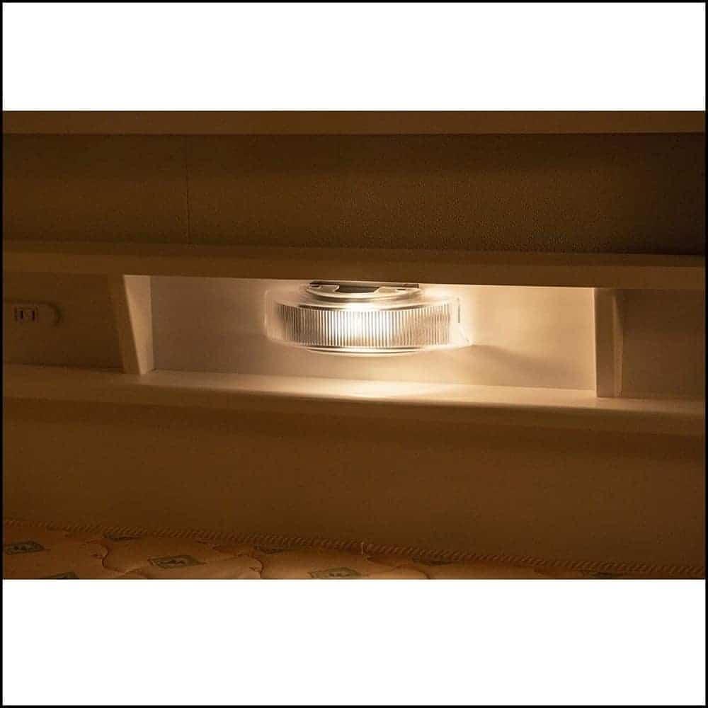 2段ベッド ストラ WH/GR(ホワイト/ウォームグレー):LEDライト付き