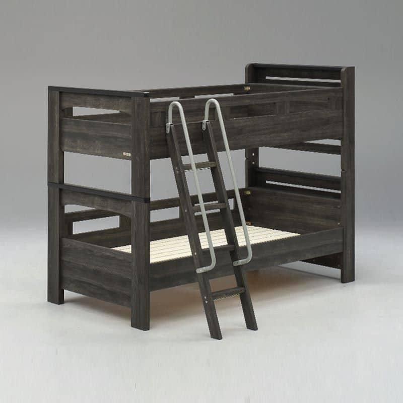 二段ベッド NEWフレッテ ダークグレー:選べるはしご掛け位置:フット面にもはしごが掛けられます。