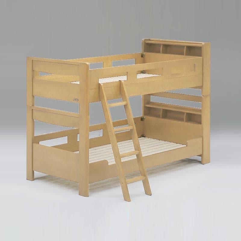 二段ベッド カルネ キャビネット ナチュラル:2台のシングルベッドとして分けて使える。上下段分離使用可能!