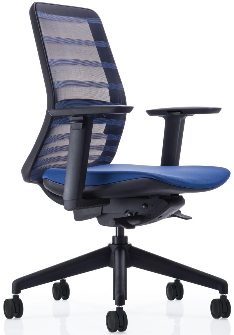 【ネット限定】デスクチェア トニック ブラック樹脂 肘付 ブルー:現代的なシェルの曲線デザインとメッシュを融合
