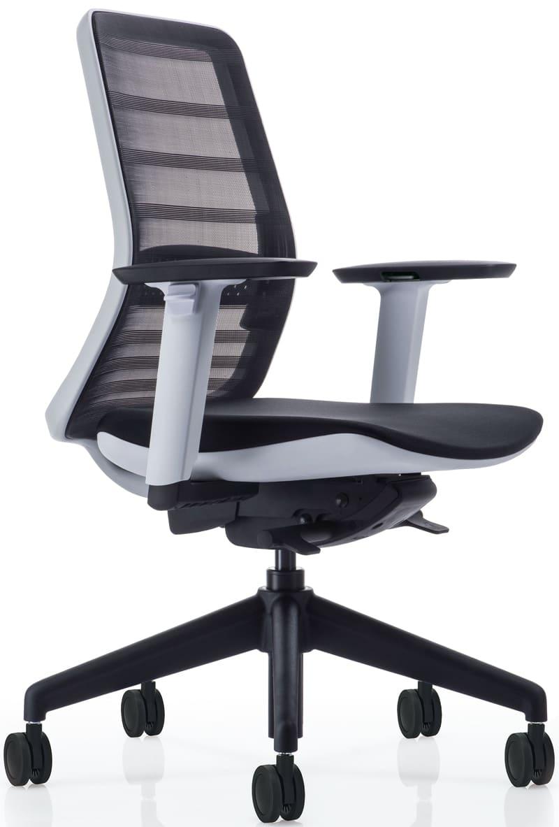 【ネット限定】デスクチェア トニック ホワイト樹脂 肘付 ブラック:現代的なシェルの曲線デザインとメッシュを融合