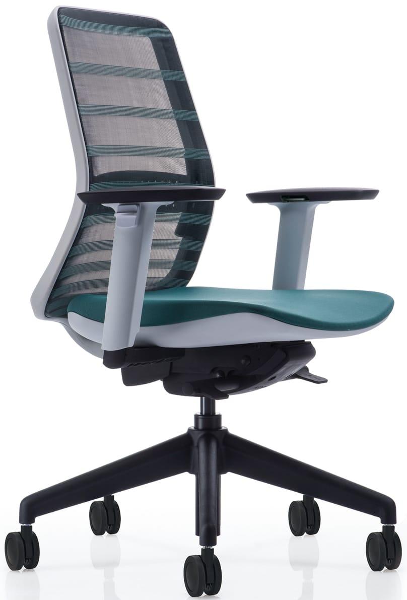 【ネット限定】デスクチェア トニック ホワイト樹脂 肘付 グリーン:現代的なシェルの曲線デザインとメッシュを融合