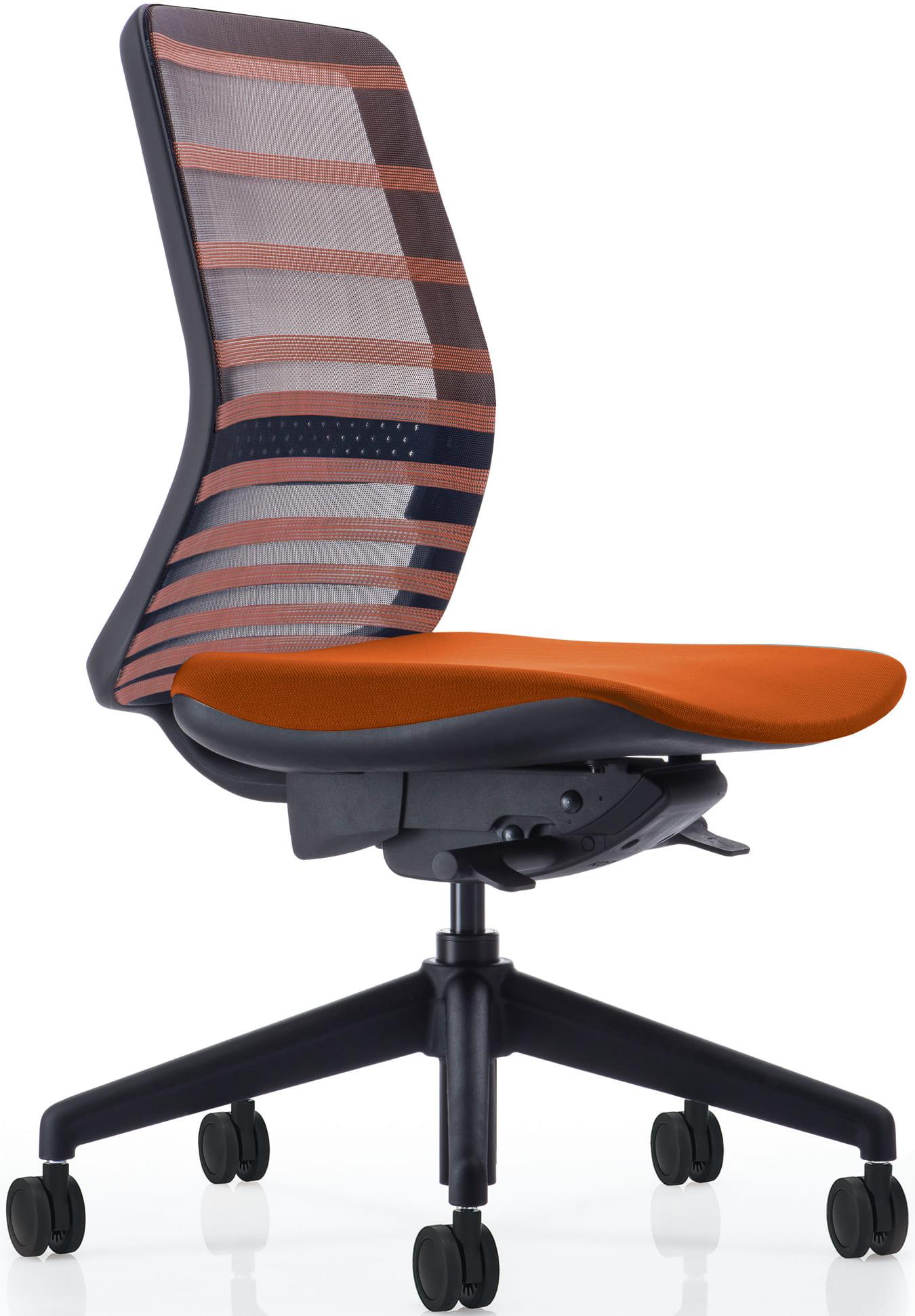 【ネット限定】デスクチェア トニック ブラック樹脂 肘無 オレンジ:現代的なシェルの曲線デザインとメッシュを融合