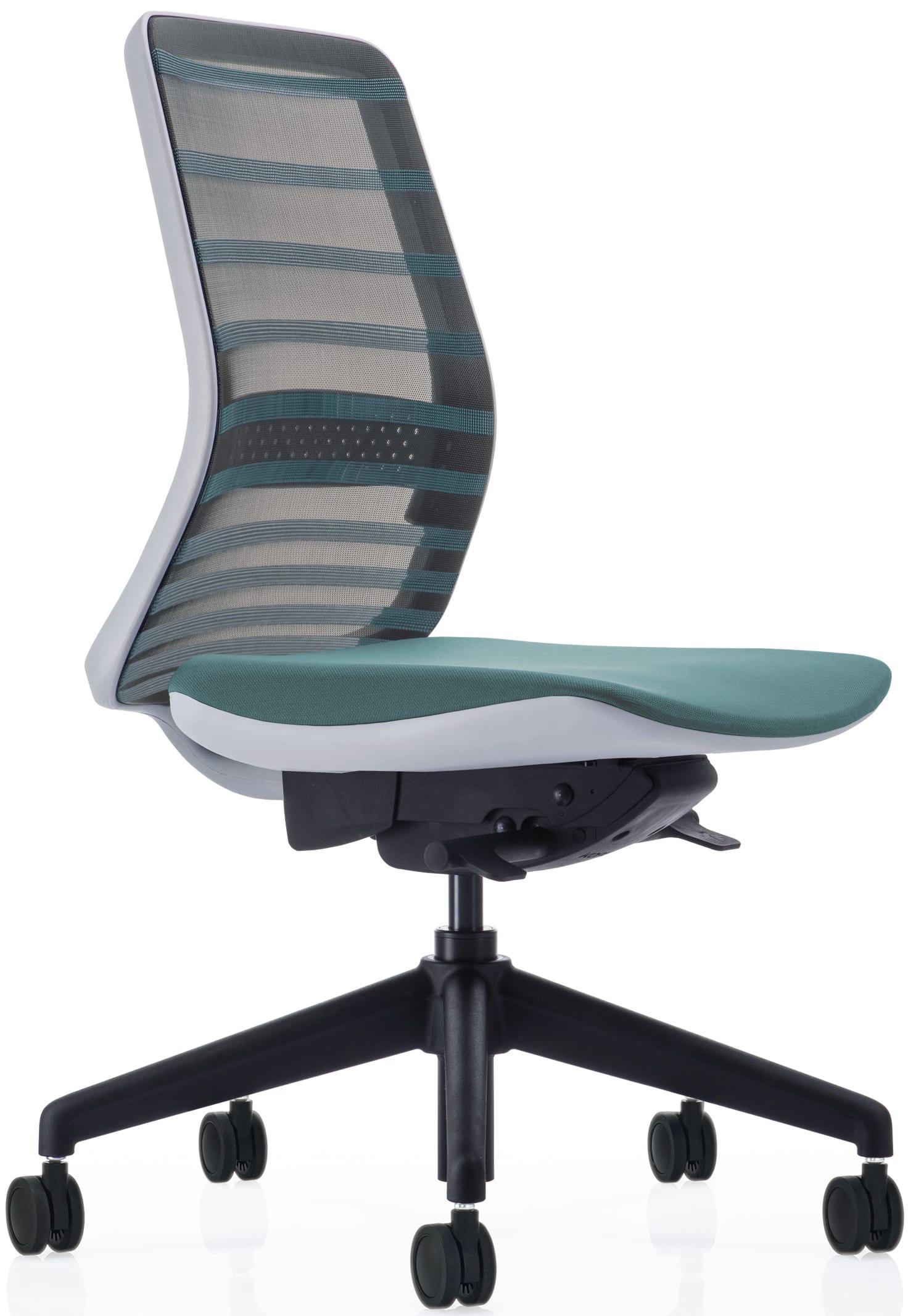 【ネット限定】デスクチェア トニック ホワイト樹脂 肘無 グリーン:現代的なシェルの曲線デザインとメッシュを融合