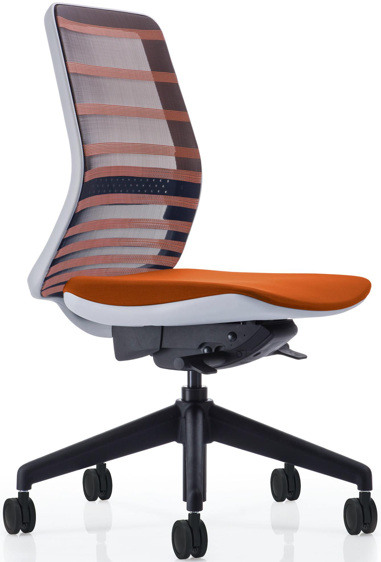 【ネット限定】デスクチェア トニック ホワイト樹脂 肘無 オレンジ:現代的なシェルの曲線デザインとメッシュを融合