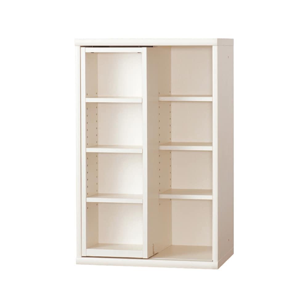 書棚 NOF−60スライドオープン ウッディホワイト:安心の日本製
