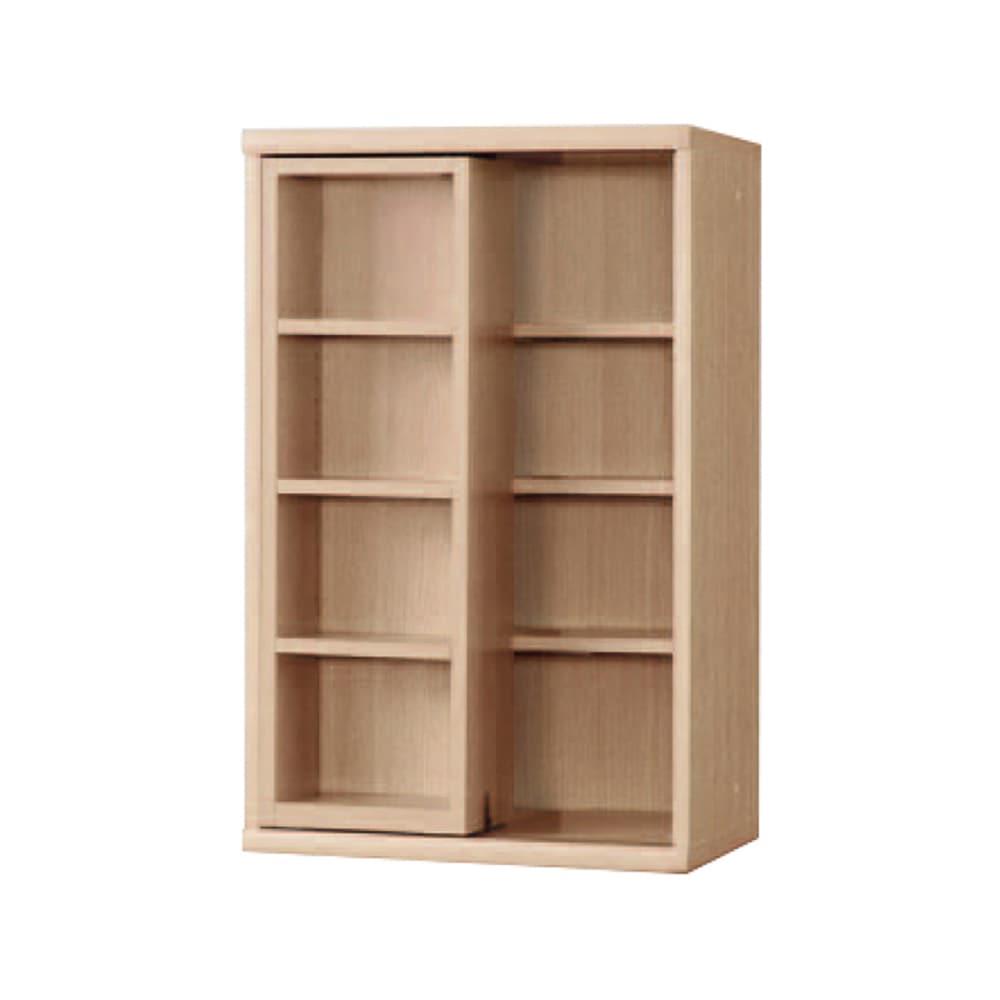 書棚 NOF−60スライドオープン チェリーナチュラル:安心の日本製