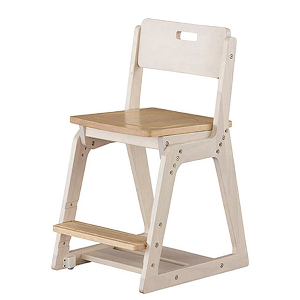 木製チェア(板座) WDC−20KG WH木目/MB木目:成長に合わせ高さ調節可能な便利チェア