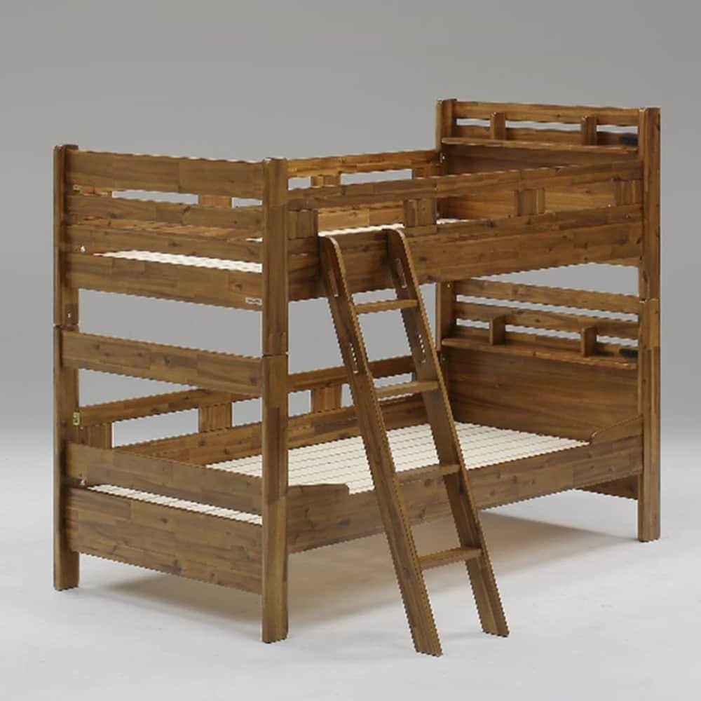 二段ベッド スマック ブラウン:アカシア材を使用したヴィンテージ風二段ベッド