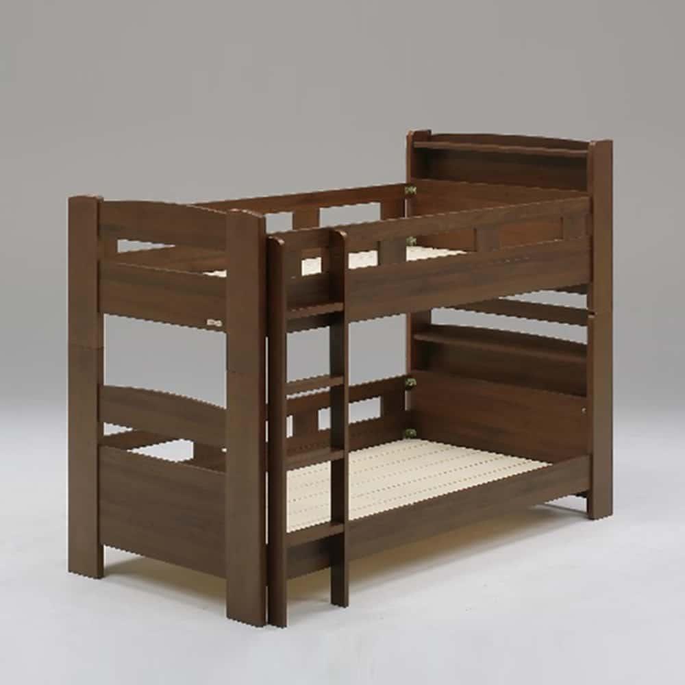 二段ベッド デール キャビネット 垂直はしご ブラウン:二段ベッド デール キャビネット 垂直はしご