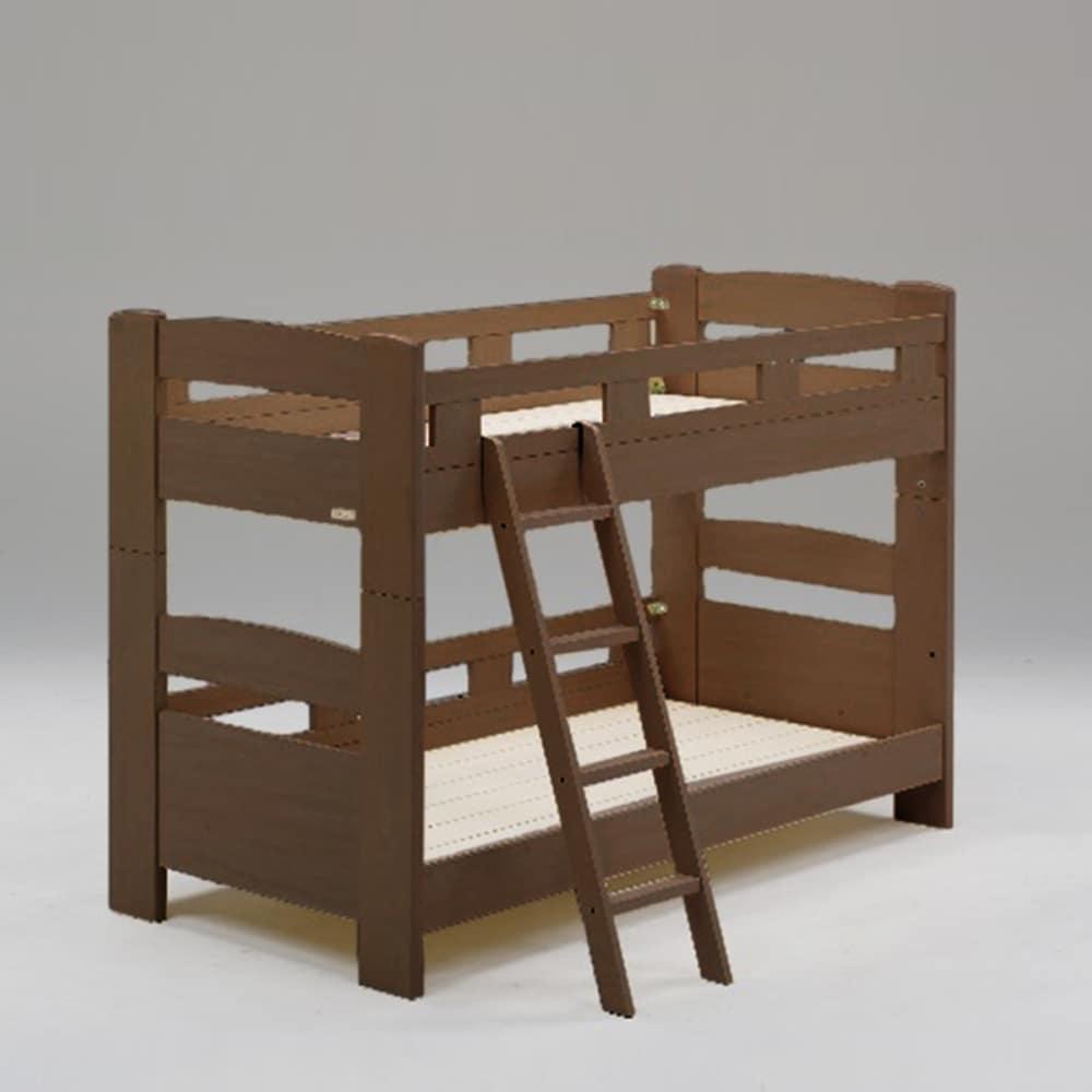 二段ベッド デール フラット 斜めはしご ブラウン:二段ベッド デール フラット 斜めはしご