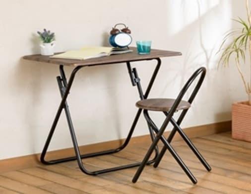 フォールディングテーブル&チェア ソルト DB:テーブルとチェアの2点セットです