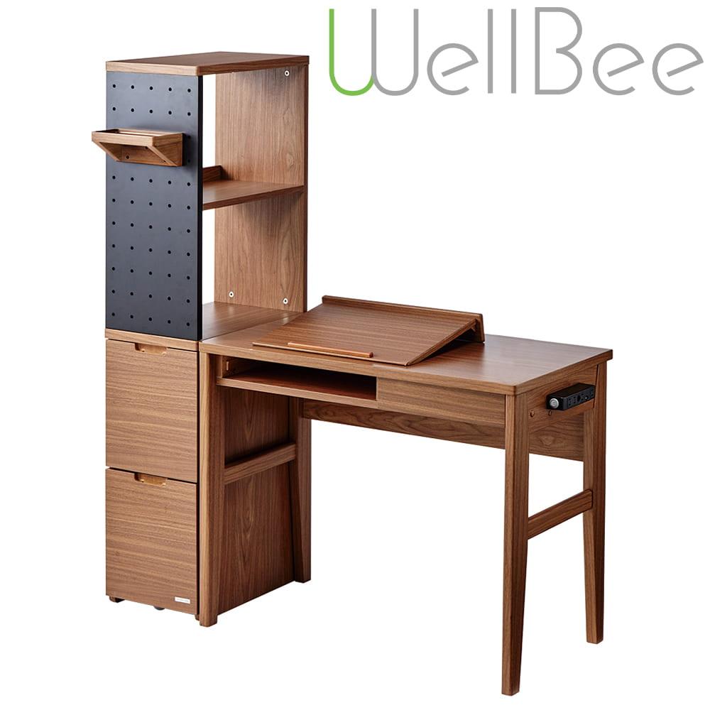 コイズミ ウェルビー 3点set(デスクODD−421/キャビネットODB−422/シェルフODB−423)WO:タブレット端末やパソコンが置ける傾斜天板付きデスク