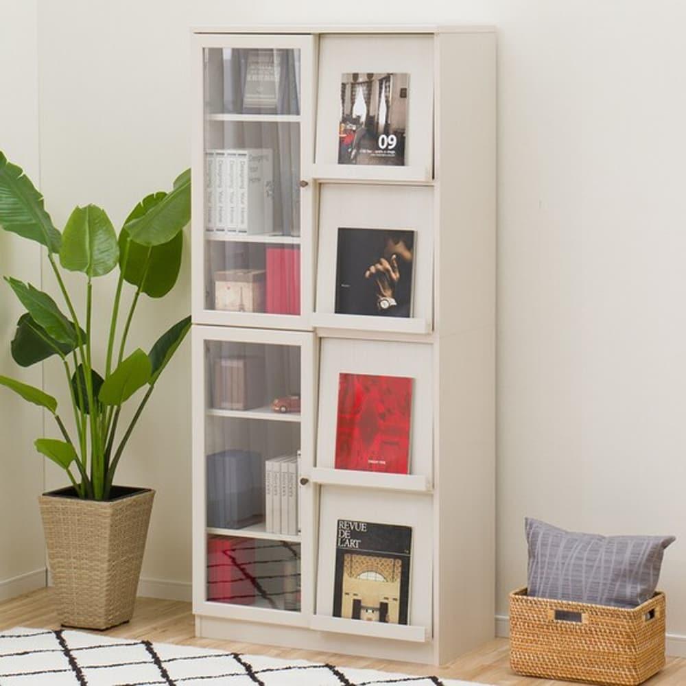 【ニトリ】 フラップ書棚 ビブリオGD80 ホワイトウォッシュ:ディスプレイが楽しめるフラップ式扉本棚