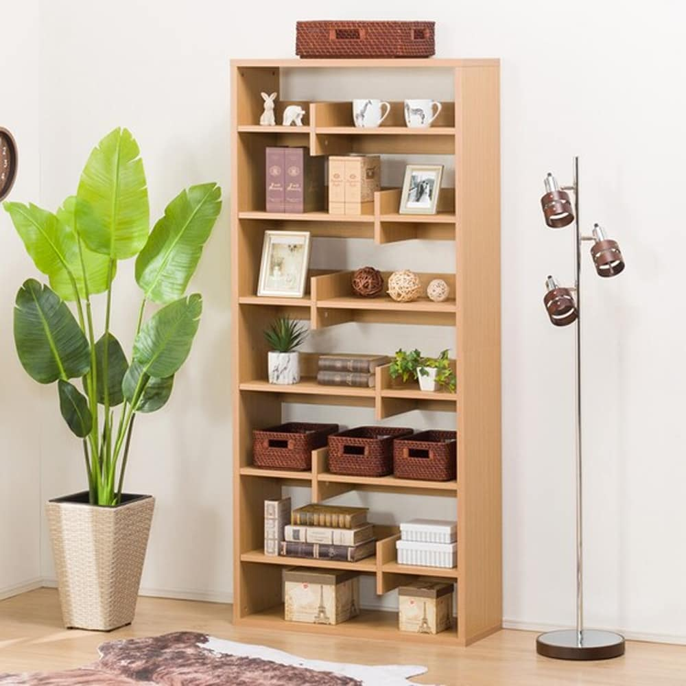 【ニトリ】 オープン書棚 メトリー1880 ライトブラウン:分割・反転しても使えるオープン本棚