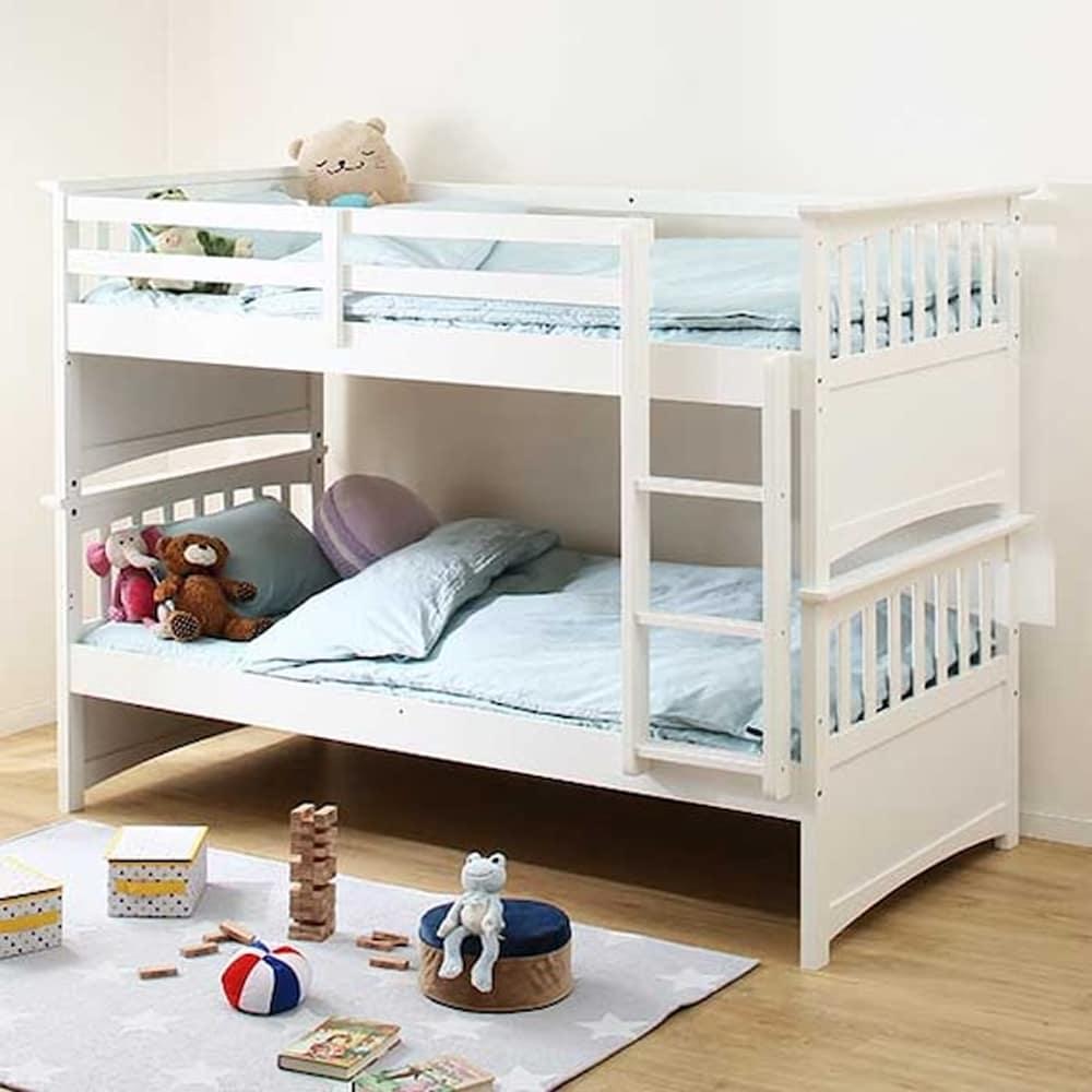 【ニトリ】 2段ベッドフレーム コドノ ZE WH ホワイト:通気性の良いスノコ床板2段ベッド