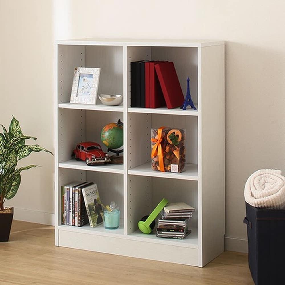 【ニトリ】 書棚 サラ 1077 WH ホワイト:木目がアクセントなシンプルな本棚