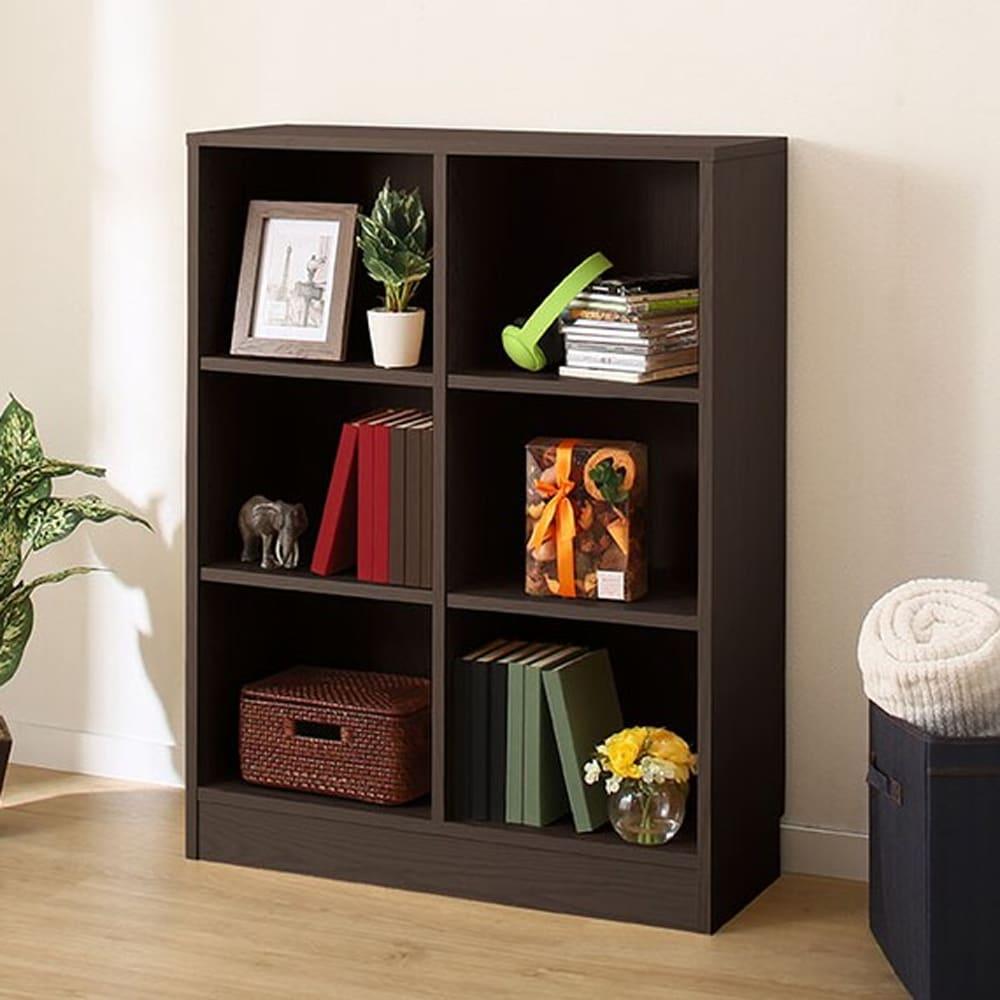 【ニトリ】 書棚 サラ 1077 DBR ダークブラウン:木目がアクセントなシンプルな本棚