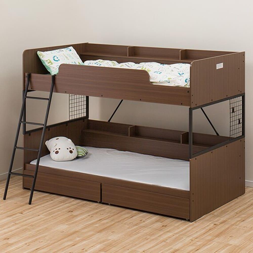 【ニトリ】 2段ベッド デニッシュS MBR&BK ミドルブラウン:お部屋に合わせやすいシンプルデザイン