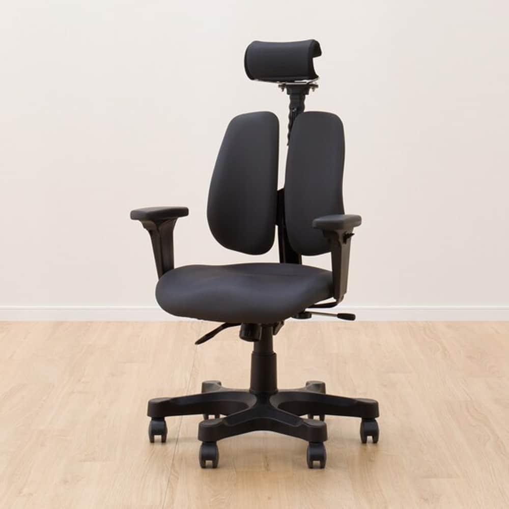 【ニトリ】 ワークチェア 肘付き デュオレハイ DX ブラック:細部にわたり快適な座り心地をサポート。