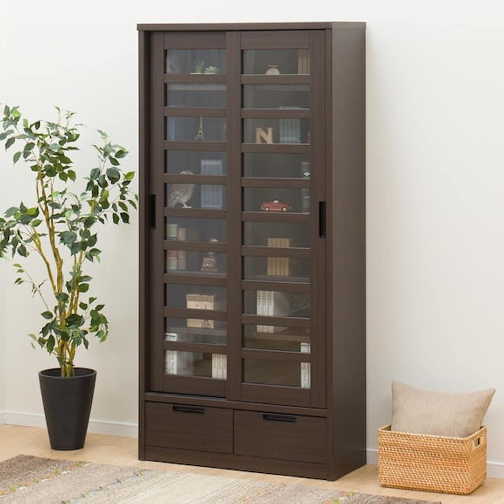 【ニトリ】 スライド書棚 アカツキ 90 DBR ダークブラウン:和モダンなデザインのスライド本棚