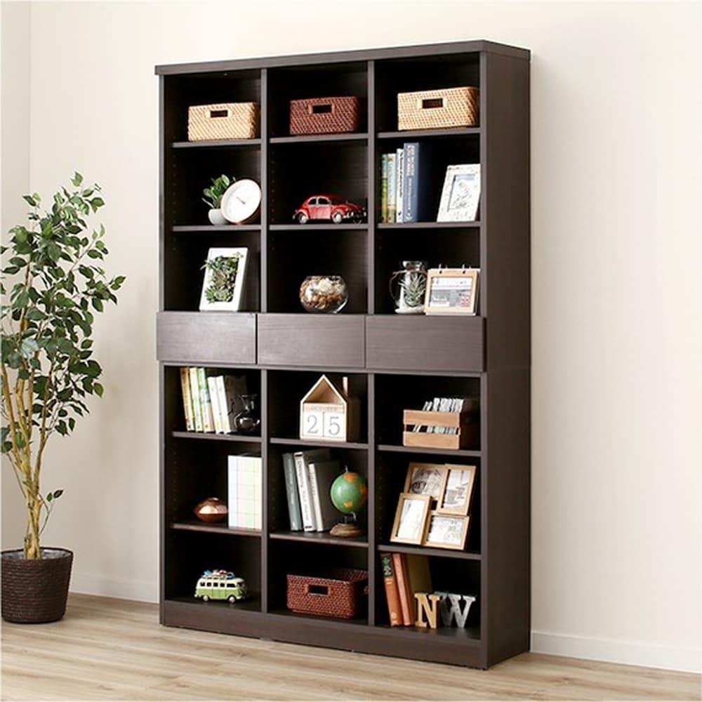 【ニトリ】 オープン書棚 アデル120BS DBR ダークブラウン:すっきり収まる大容量の本棚