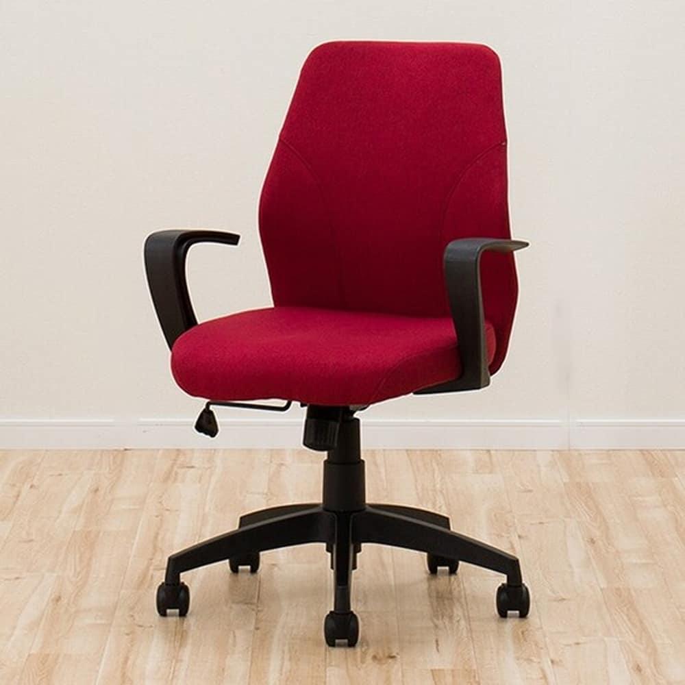 【ニトリ】 ワークチェア グリッジ 布 RE レッド:座りながらストレッチができるロッキングチェア
