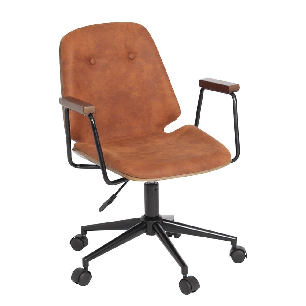 デスクチェア ブロンコ BK−BR ※スエード調:お部屋の雰囲気を向上!天然木の肘置きデザインチェアです