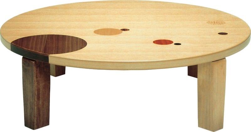 座卓 アース丸 105(ナチュラル):座卓