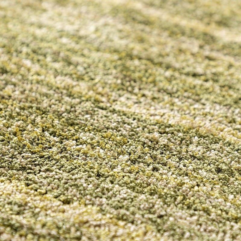 ラグ リュストル200×200円形(Fグリーン):遊び毛や抜け毛がすくないから清潔♪