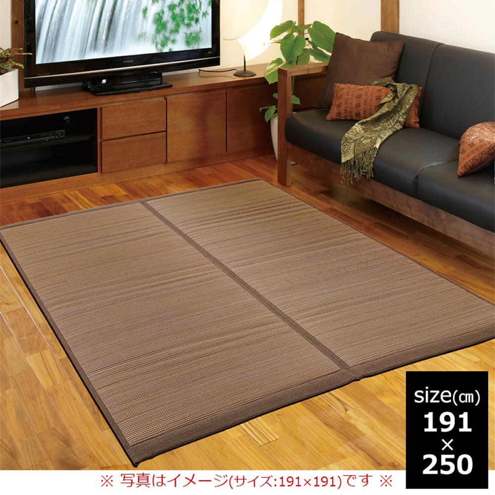 い草 ふっくらラグ 琉球カナタ 191×250 BR(ブラウン):爽快な沖縄の風を感じる南国テイスト。
