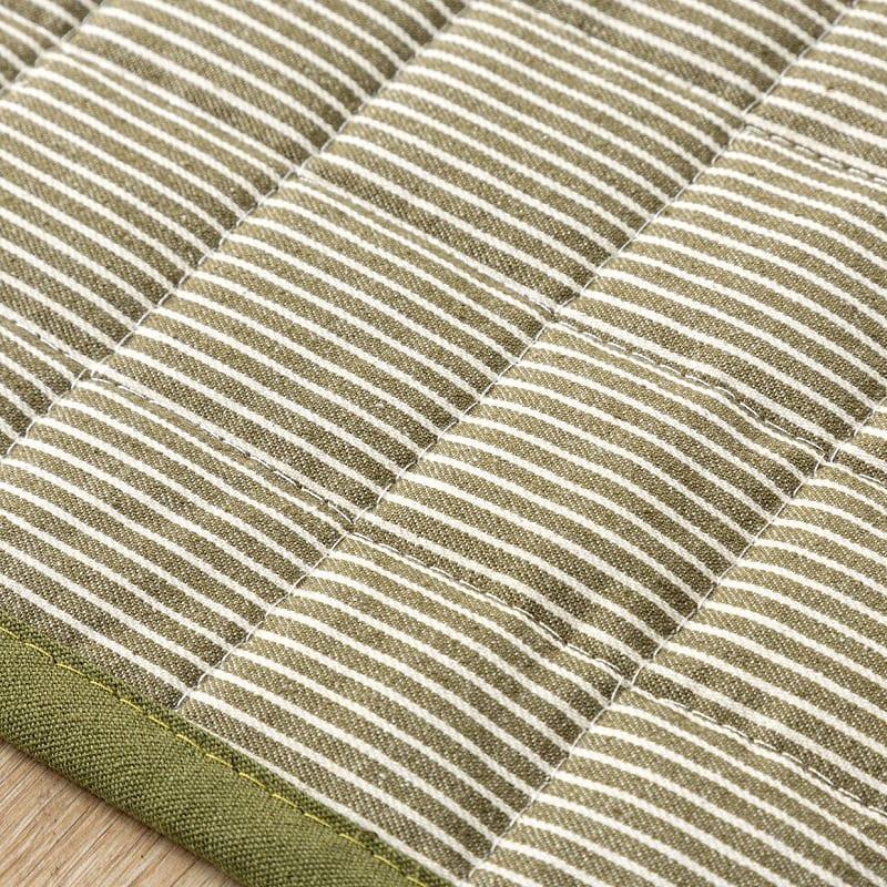 防ダニラグ ヒッコリー 185×185 グリーン:綿100%でさらさらな手触り